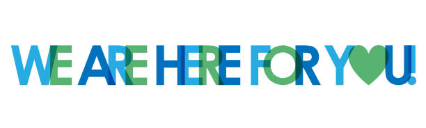bildbanksillustrationer, clip art samt tecknat material och ikoner med vi är här för dig! blå och grön typografi banner - emotionellt stöd