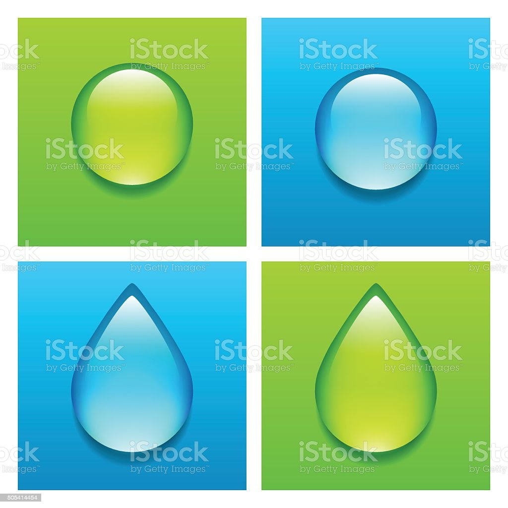 Blue and green water drops vector art illustration