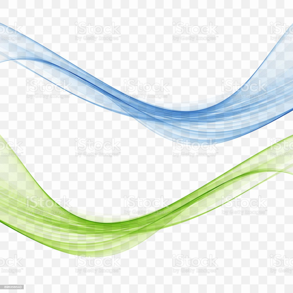 Blue and green wave vector art illustration
