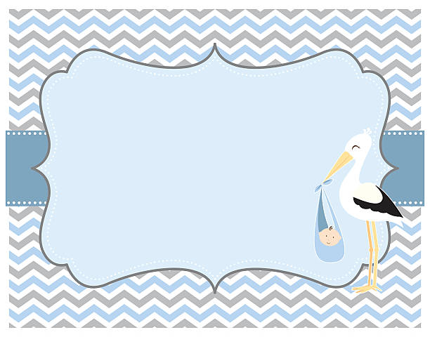 Blue and Grey Chevron Baby Boy Card with Stork A vector illustration of a blue and grey chevron background with copy space, featuring a stork carrying a baby boy. Objects are grouped and layered for easy editing. Files included: EPS10 and Large High Res Jpg. baby boys stock illustrations