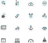 Blue and grey internet icon set