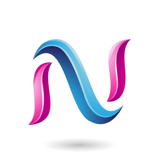 blue and magenta glossy snake shaped letter n vector illustration vector art illustration