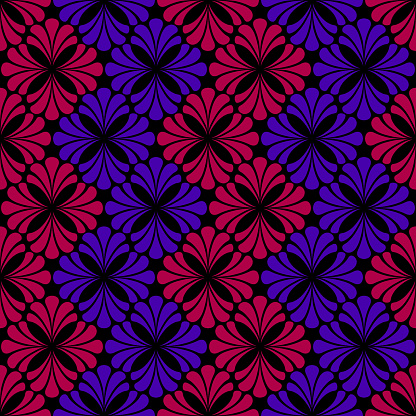 blue and maroon flowers. vector seamless pattern. dark repetitive background. fabric swatch. wrapping paper. continuous print. design element for home decor, apparel, textile. modern stylish texture