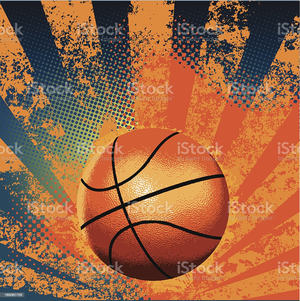 Blue and orange background with orange and black basketball  vector art illustration