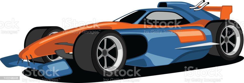 Blue and Orange Formula One Car. vector art illustration