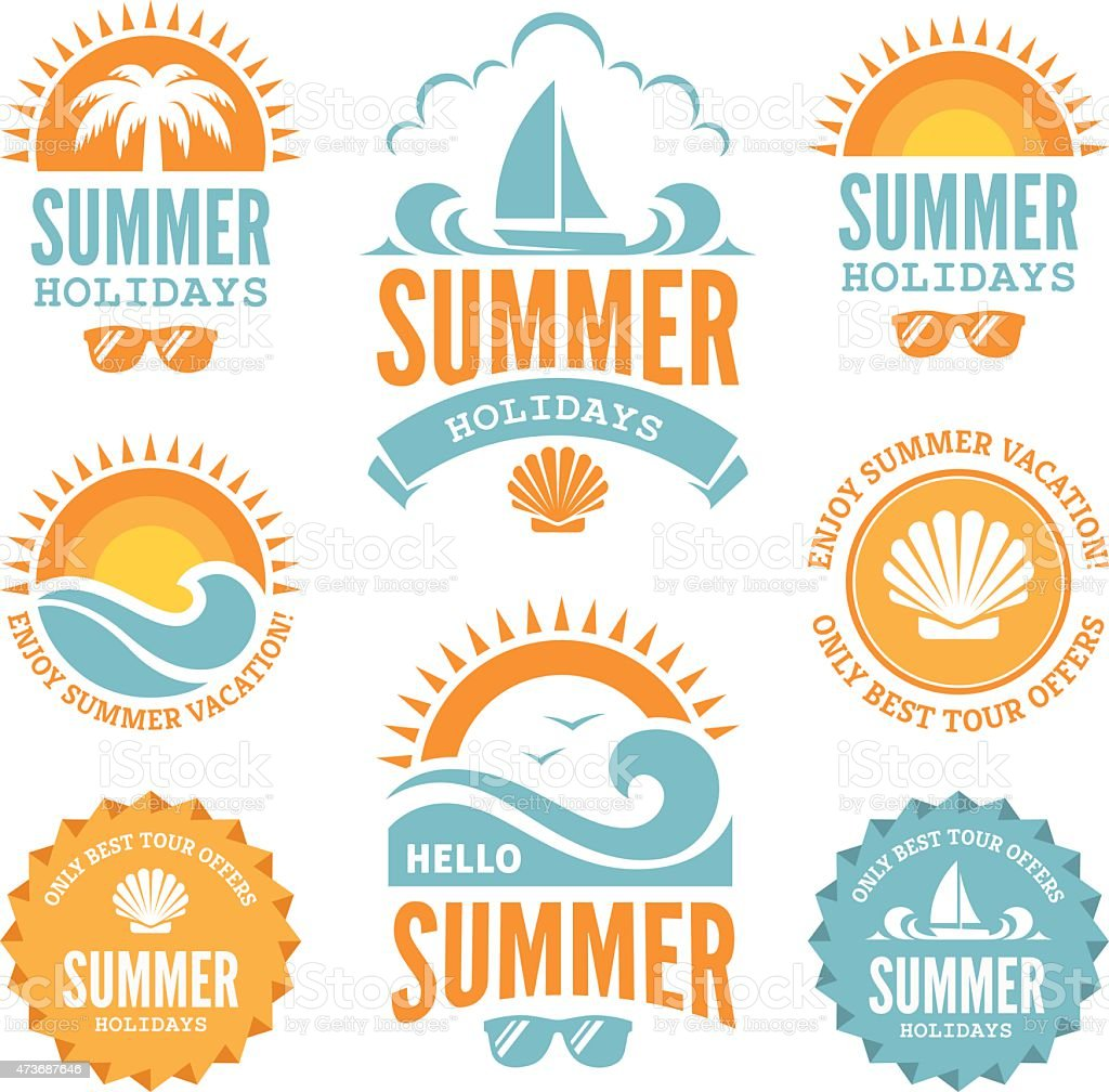 Blue and Orange Summer Holidays Labels vector art illustration