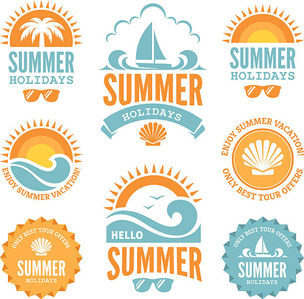 Blue and Orange Summer Holidays Labels Set of  summer holidays labels with  sun, palm tree, sailing yacht, sunglasses, sea shell and waves in bright  blue and orange colors isolated on white background summer sun stock illustrations