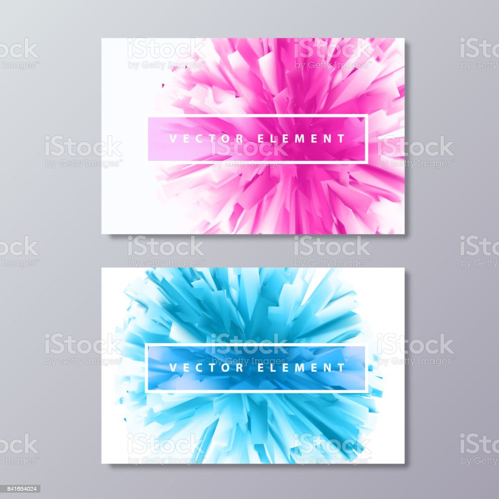 Blue and Pink abstract female design business cards. vector art illustration