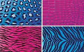 Blue and pink animal print patterns