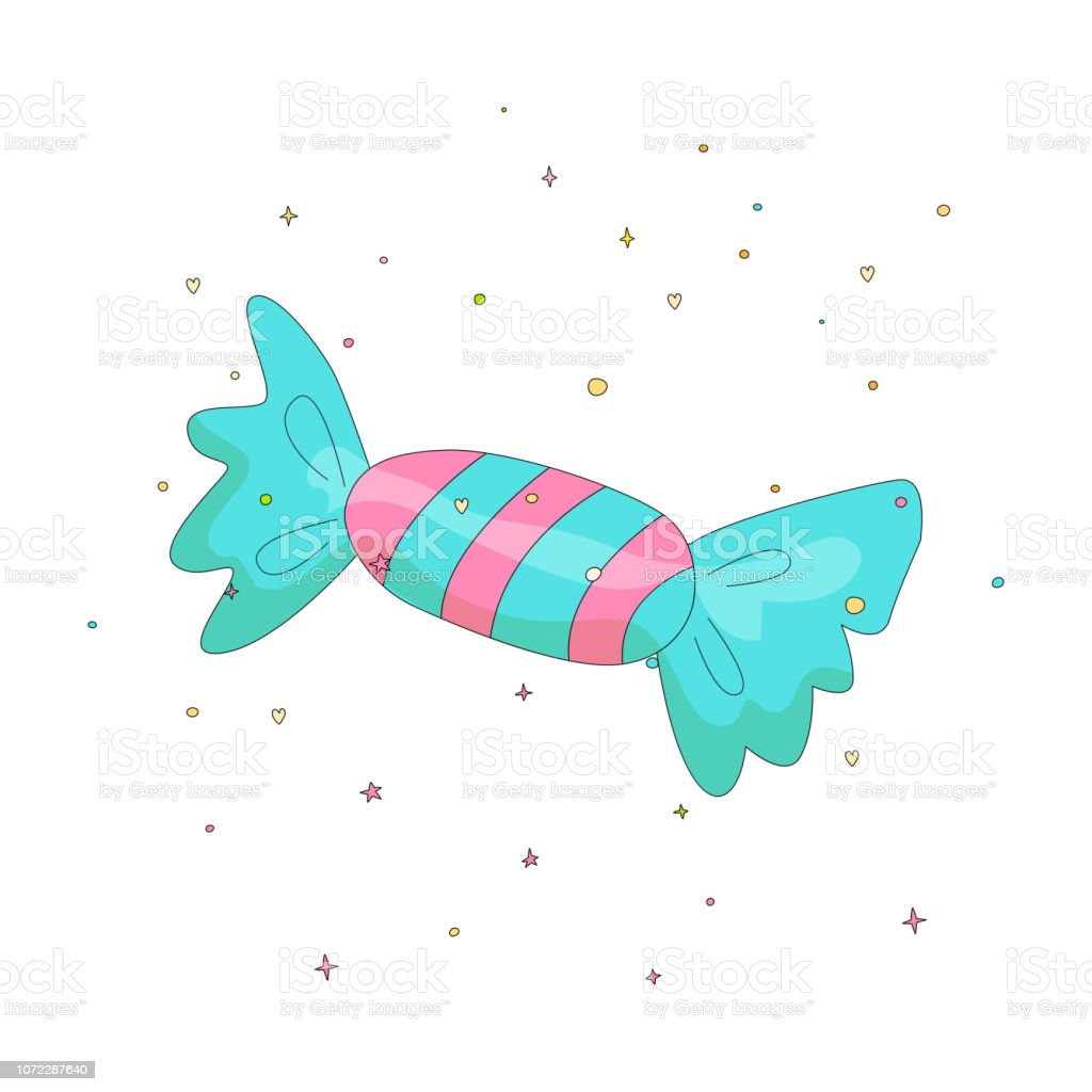 Blue And Pink Candy Fun Cartoon Vector Icon Sweet Candy