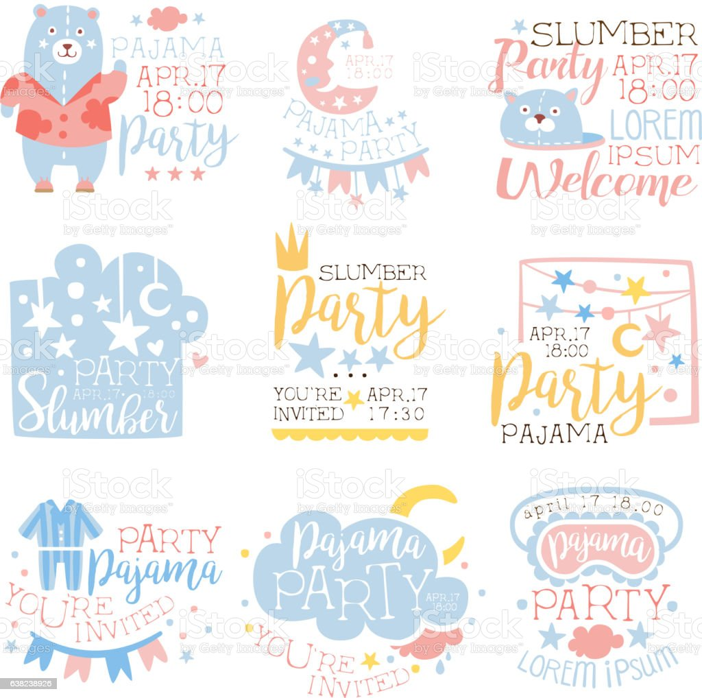 Blue And Pink Girly Pajama Party Invitation Templates vector art illustration