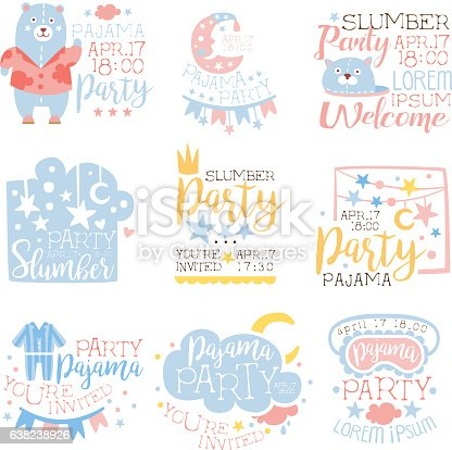 Blue And Pink Girly Pajama Party Invitation Templates Stock Vector ...