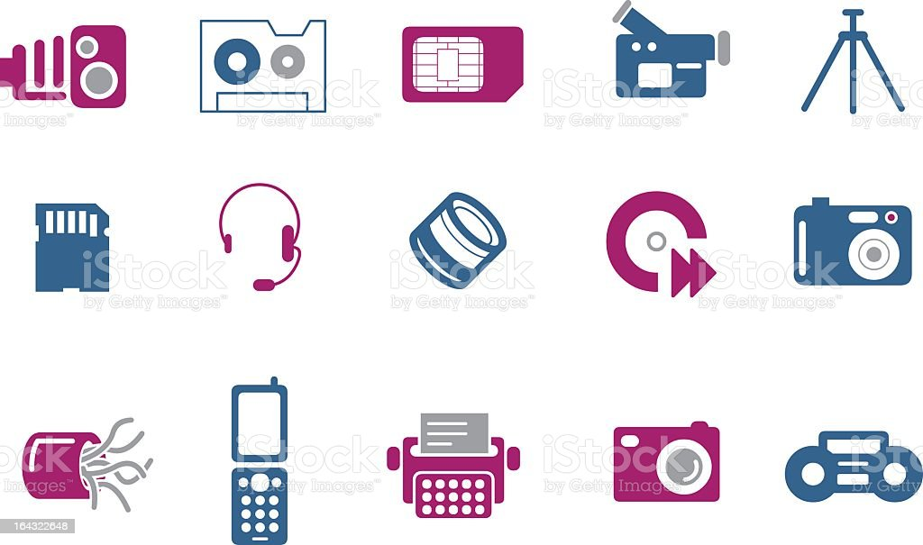 A blue and pink hi-tech icon set royalty-free a blue and pink hitech icon set stock vector art & more images of audio cassette