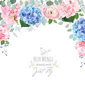 Blue and pink hydrangea, rose, ranunculus, carnation flowers