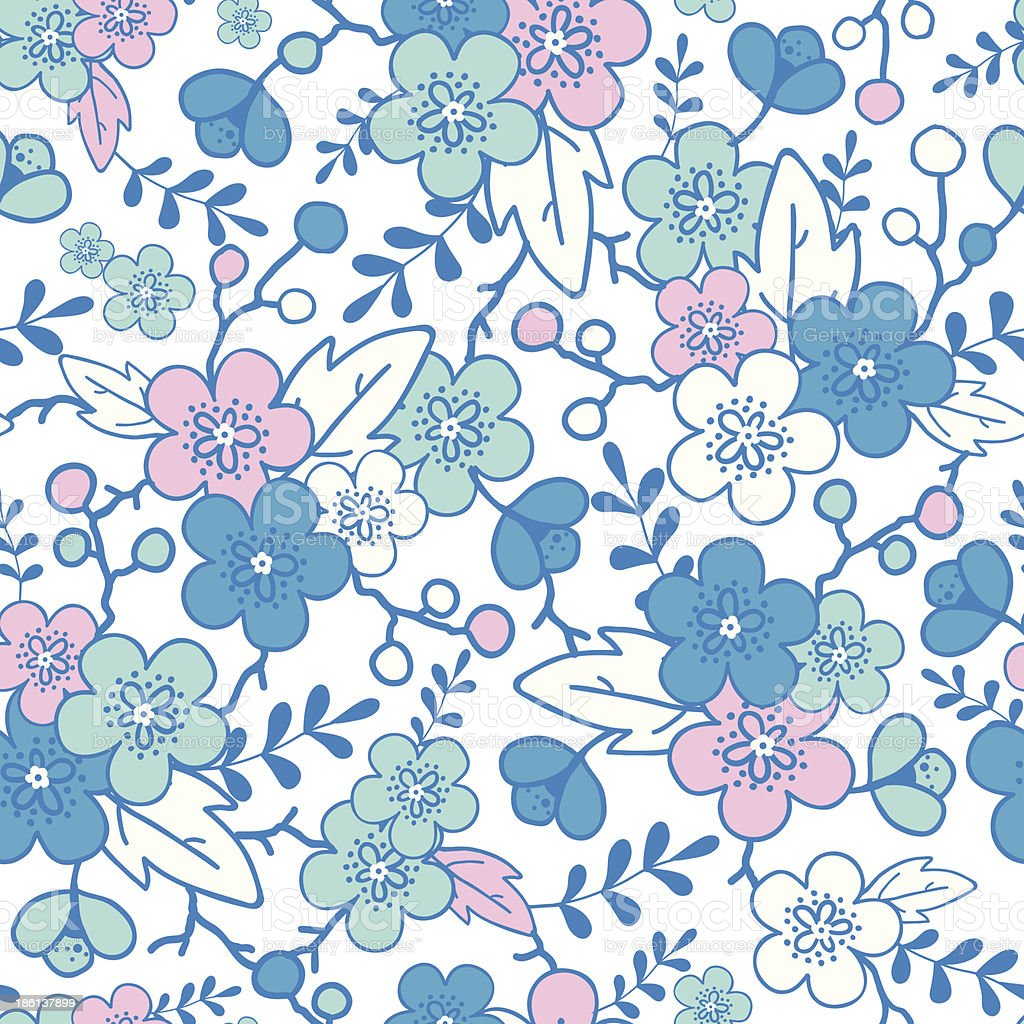 Blue and pink kimono blossoms seamless pattern background royalty-free blue and pink kimono blossoms seamless pattern background stock vector art & more images of art