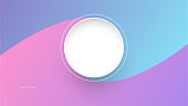 Blue and pink minimal background with white round in the middle vector illustration. Concept of minimal background design.