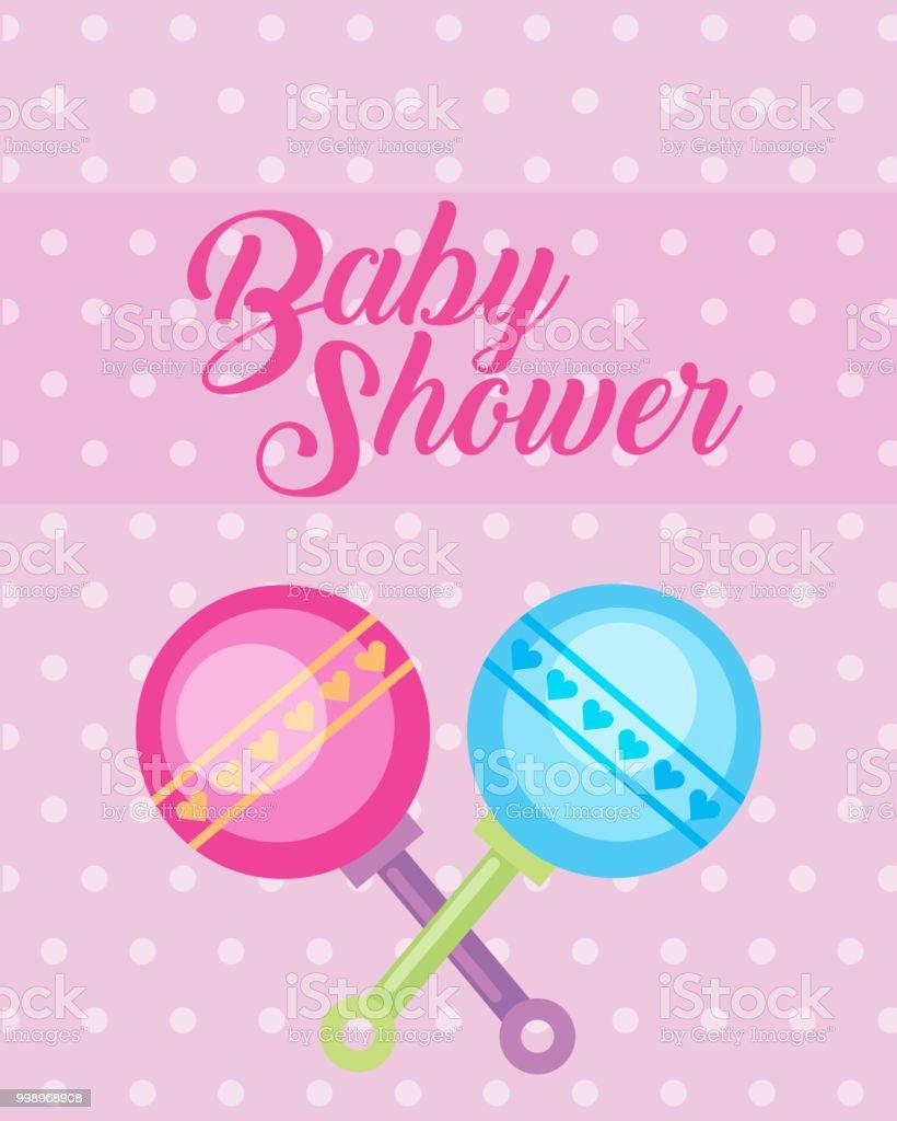 4dc9c1839 azul y rosa juguetes sonajeros bebé ducha tarjeta ilustración de azul y rosa  juguetes sonajeros bebé