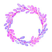 Blue and Purple Berries Wreath Background. Hand Painted Layered Watercolor Flowers Clip Art. Watercolor Floral Pattern. Design Element for Greeting Cards and Wedding, Birthday and other Holiday and Summer Invitation Cards Background.