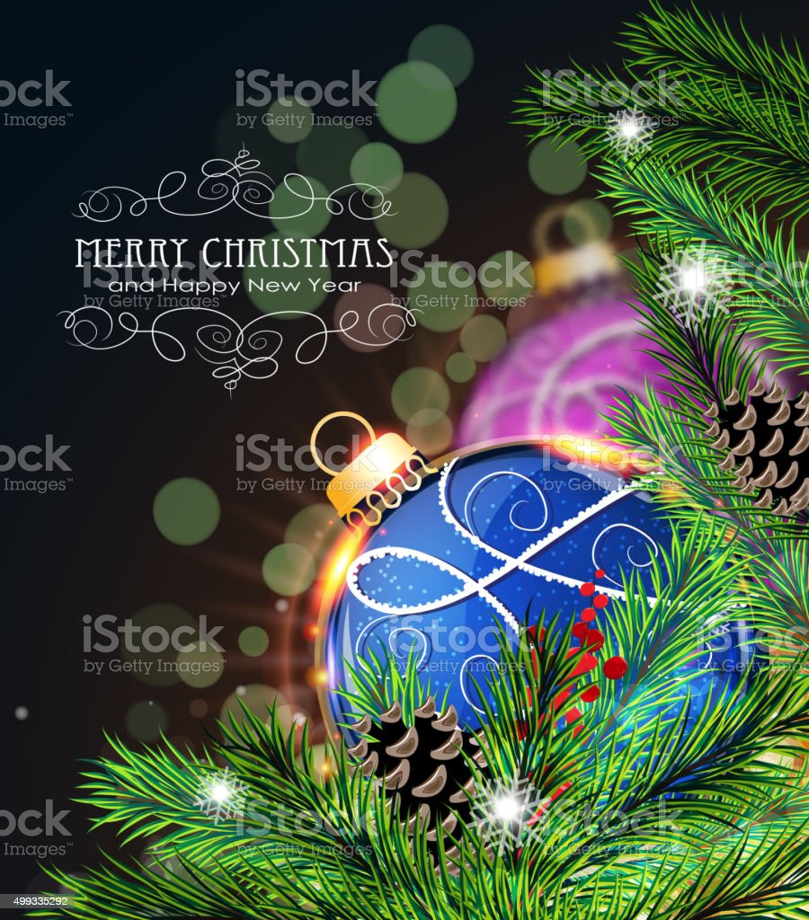 Blue And Purple Christmas Decorations Royalty Free Stock Vector Art