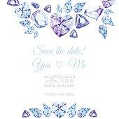 istock Blue and purple diamonds watercolor vector design frame 476208456