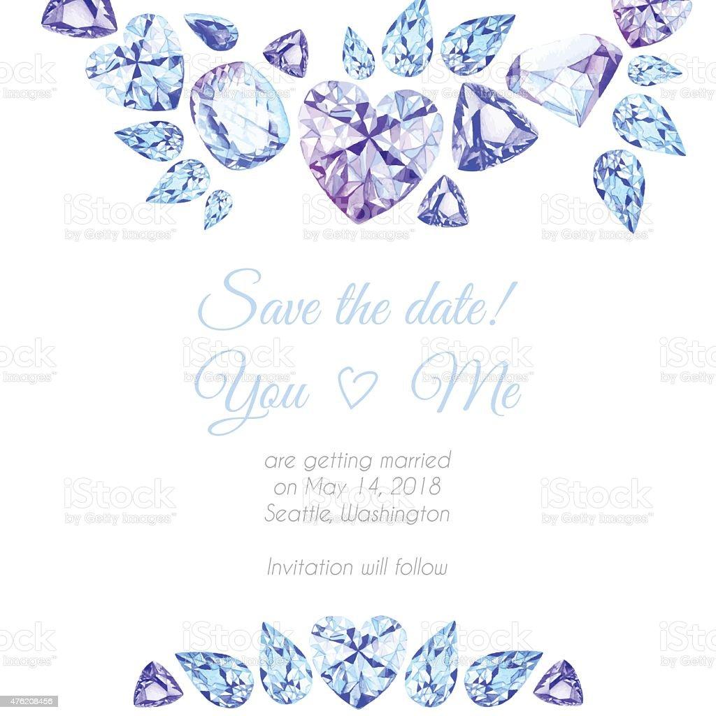 ブルーとパープルのダイヤモンド水彩ベクトルデザインフレーム ベクターアートイラスト