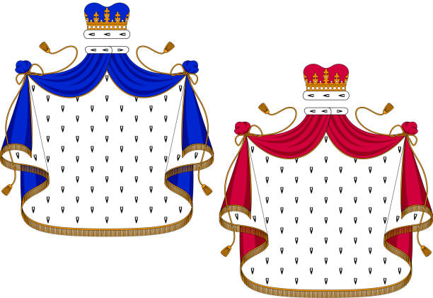 Blue and purple royal mantles Blue and purple royal mantles with golden embellishments for use as design elements in heraldry, isolated on white background ermine stock illustrations