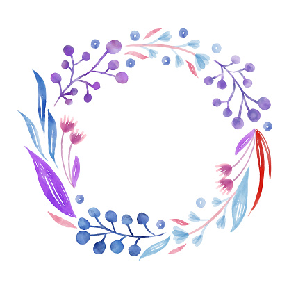 Blue and Purple Spring Blossoms Background. Hand Painted Layered Watercolor Flowers Clip Art. Watercolor Floral Pattern. Design Element for Greeting Cards and Wedding, Birthday and other Holiday and Summer Invitation Cards Background.