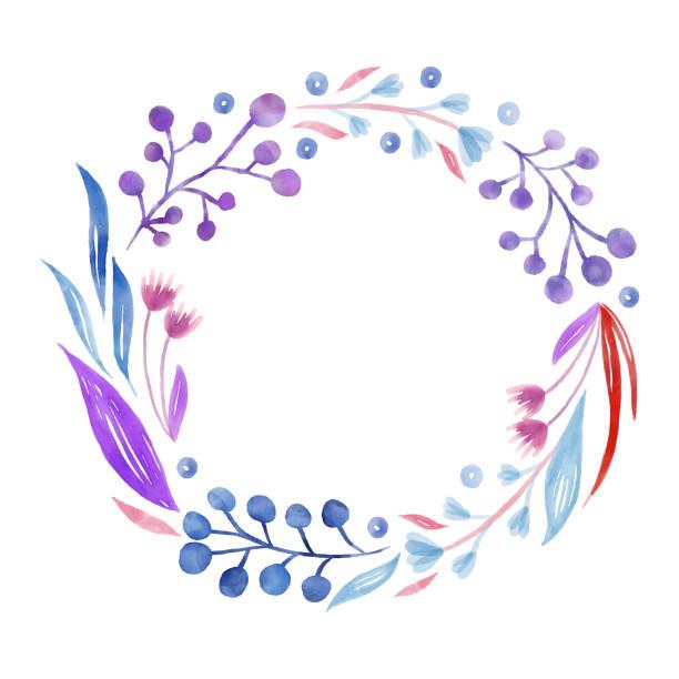 青と紫の春の花の背景。手描きのレイヤード水彩画クリップアート。水彩画の花柄。グリーティングカードや結婚式、誕生日、その他の休日や夏の招待状の背景のためのデザイン要素。 - ボタニカル点のイラスト素材/クリップアート素材/マンガ素材/アイコン素材