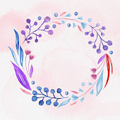 Blue and Purple Spring Blossoms Wreath with Pink Watercolor Background. Hand Painted Layered Watercolor Flowers Clip Art. Watercolor Floral Pattern. Design Element for Greeting Cards and Wedding, Birthday and other Holiday and Summer Invitation Cards Background.