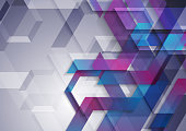 Blue and purple tech geometric background. Vector bright corporate design