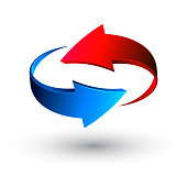 Blue and red 3d arrows, vector.