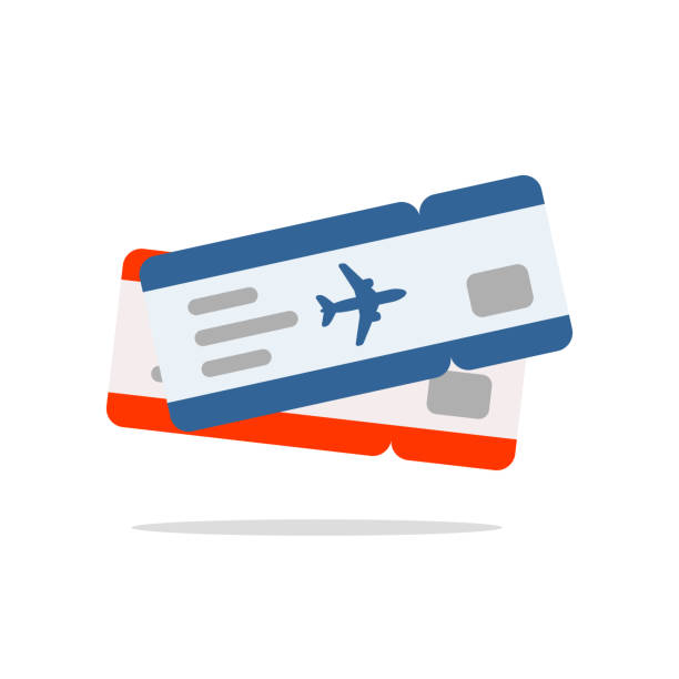 blue and red air tickets - airplane ticket stock illustrations