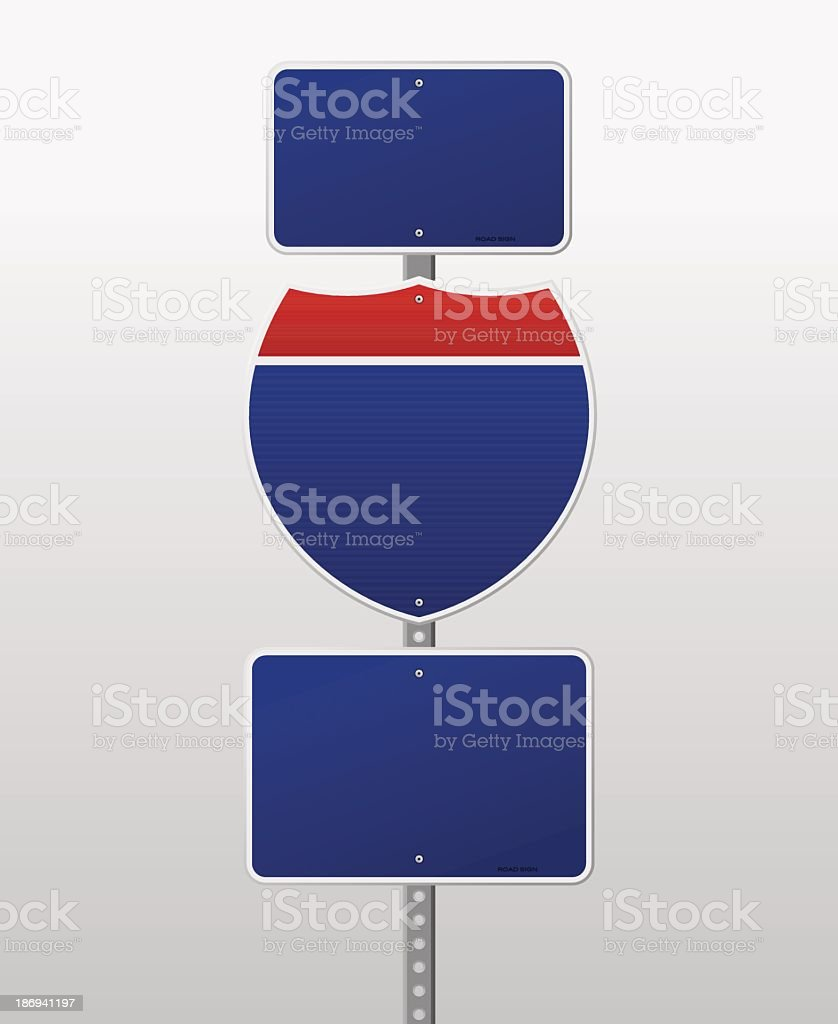 Blue and red blank interstate signs of different shapes