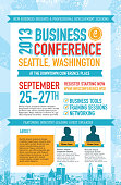 Vector illustration of a business conference poster design template. Includes sample text and design elements such as grunge cityscape, blank photo templates for guest speakers and checkmarks. Use elements of this template to customize your own Business Conference poster. Download includes Illustrator 8 eps, high resolution jpg and png file. See my portfolio for other business conference designs and templates.