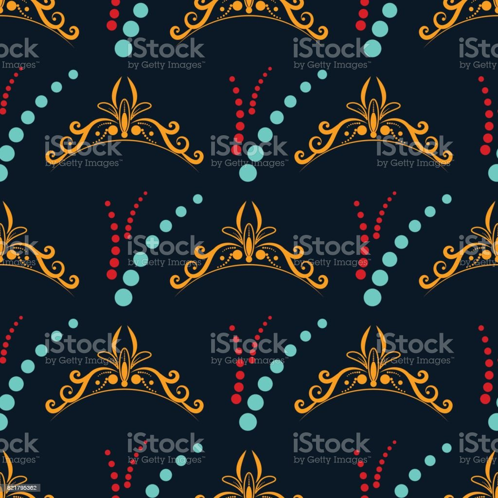 Blue and red circle with vintage yellow monogram vector art illustration