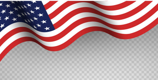 blue and red fabric usa flag on transparent background. happy flag day, independence day, american memorial day. - american flag stock illustrations