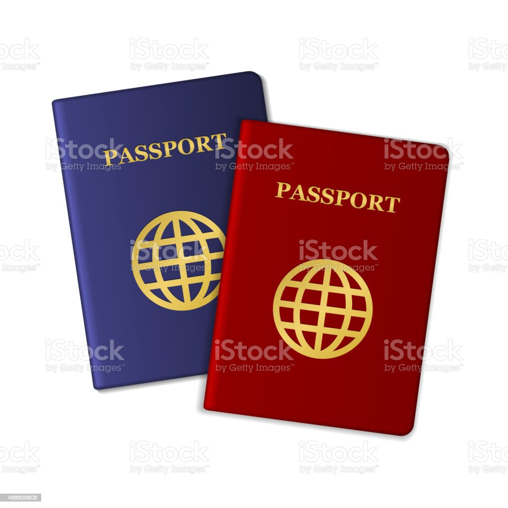 Blue and Red Passports Isolated on White Background. Vector vector art illustration