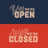 Blue and red retro style open and closed signs