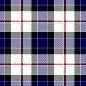 Blue, red, black and white Scottish tartan plaid seamless textile pattern background.