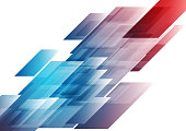 Blue and red shiny hi-tech background. Vector technical geometric design