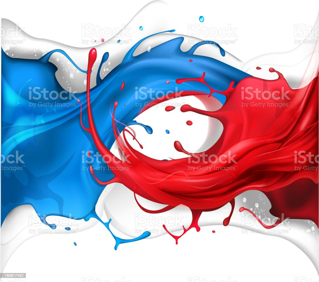 Blue and red splash wave royalty-free stock vector art
