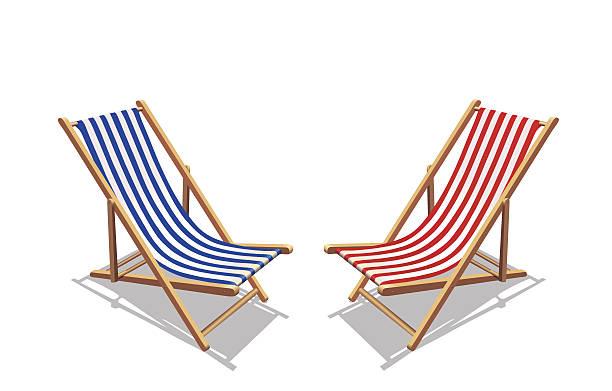 blaue und rote streifen in liegestuhl und schatten - sonnenstuhl stock-grafiken, -clipart, -cartoons und -symbole