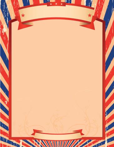 Blue and Red Stripes Illustration Frame