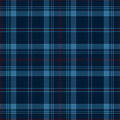 Blue and red traditional tartan plaid seamless pattern background.