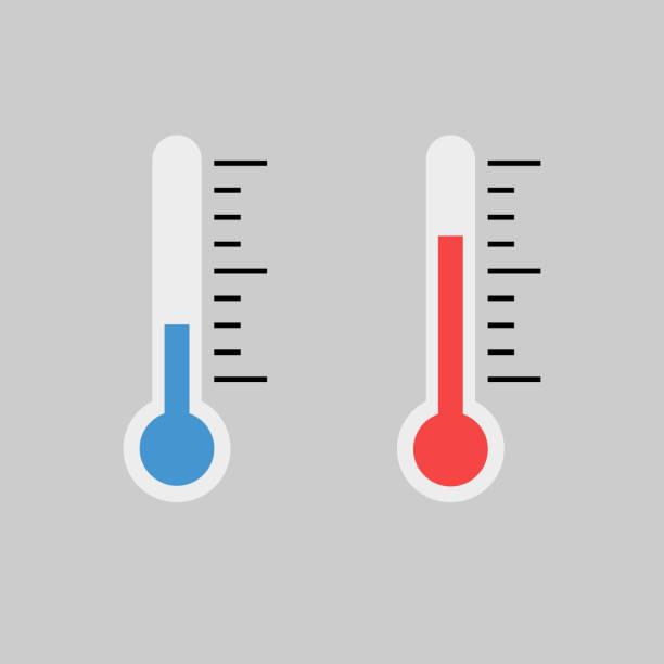 illustrations, cliparts, dessins animés et icônes de indicateurs de thermomètre bleu et rouge j'ai - chaleur