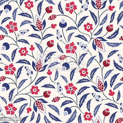 istock Blue and Red Traditional Chintz Floral Vector Seamless Pattern. Classic Background 1195723901