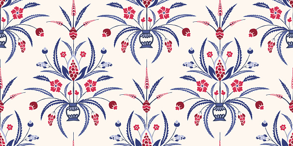 Blue and Red Traditional Damask Chintz Floral Vector Seamless Pattern. Classic Background
