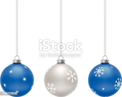 Blue and Silver Christmas Balls on white background.