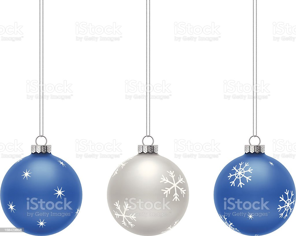 Blue and Silver Christmas Balls vector art illustration