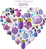 Blue and violet fruits and vegetables heart shape